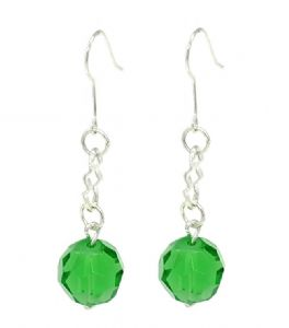 Green Crystal Ball Drop Earrings